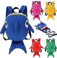 baby kinder mädchen rucksack großhandel-Baby Shark Rucksack Leine Kleinkind Anti-verlorene Schultasche Mädchen Junge Kinder Kinder Schultaschen Outdoor Harness Escolar Mochilas AAA1839