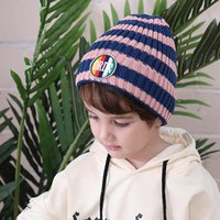 ingrosso berretto da neonati-Cappelli per neonati a righe cappelli per neonati moda ragazzi cappello a cuffia lavorato a maglia cappello lavorato a maglia cappelli per ragazzi cappellini per bambini berretti per ragazze cappellini lavorati a mano per bambini A7725