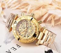 большие мужские спортивные часы оптовых-Мужские спортивные кварцевые часы Invicta Мужские золотые часы Big Face из нержавеющей стали наручные часы Relogio Masculino горячие продажи