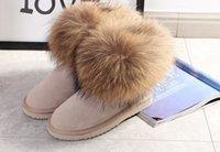 yeni kürk botları toptan satış-Tasarımcının Yüksek Kalite Yeni Moda Avustralya Klasik Alt Fox Kürk Kış Çizmeler Gerçek Deri Çizmeler Kadın Snowfield Çizmeler Kumlu