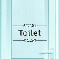 vinil çıkartma işaretleri toptan satış-Tuvalet Işareti Kapı Çıkartmalar Çıkartması Vinil Duvar Çıkartmaları Banyo Otel Için Su Geçirmez Kendinden Yapışkanlı Duvar Kağıdı Ev Dekor Aksesuarları