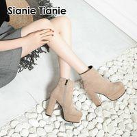 platform bloğu topuklu ayakkabılar toptan satış-Sianie Tianie sahte süet platformu ayak bileği çizmeler fermuar katı sarı siyah moda kadın patik ayakkabı blok yüksek topuklu kadın çizmeler