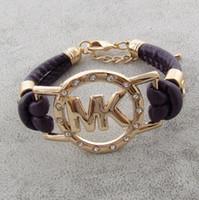 bracelet großhandel-Wholesale 2019 marke frauen BraceletBangles 14 farbe Hohe qualität PU leder Strass buchstaben M Armbänder Für damen Justierbares armband