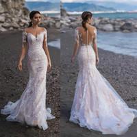 Wholesale sexy long sleeves wedding dresses resale online - 2020 Naviblue Lace Long Sleeves Mermaid Wedding Dresses Bridal Gowns Custom Beach Bride Dress vestido de novia