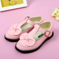 Wholesale korean children boy shoes resale online - Size Girls Princess shoes children s baby leather shoes wild Korean child baby kids cute bow princess girls single