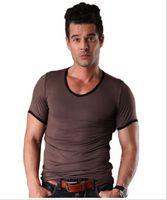hombre camiseta bambú al por mayor-Camiseta de manga corta para hombre de verano de Europa y América moda casual color sólido hombre de fibra de bambú top
