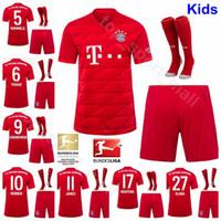 kits de fútbol juvenil rojo al por mayor-Niños Bayern Munchen 2019 2020 LEWANDOWSKI juventud kits camisa Jersey calcetines Conjunto de fútbol ROBBEN MULLER KIMMICH JAMES Fútbol Uniforme rojo casero