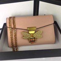 цепочка для денег оптовых-Леди девушка кроссбоди сумки заклепки пчелы плечо подлинная натуральная кожа кошелек деньги партия сумка посыльный цепь известная сумка