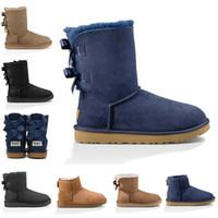botas altas negras al por mayor-Nueva WGG mujeres botas cortas Australia rodilla Tall nieve del invierno botas de diseño Bailey arco del tobillo de Bowtie Negro gris rojo castaño zapatos de niña para mujer