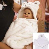 satılık bornozlar toptan satış-Sıcak Satış Beyaz Ayı Rahat Bebek Bornoz Sevimli Hayvan Karikatür Bebekler Battaniye Çocuklar Kapüşonlu Bornoz Yürüyor Bebek Banyosu Havlu