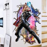calcomanías de los vengadores al por mayor-3D Wallpaper Avengers Wall Posters para la habitación de los niños Raytheon Home Decor Wall Stickers Decals Nursery Wall Art Decorativo 9 Estilos