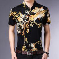 camisa do teste padrão do pássaro venda por atacado-flor criativo e teste padrão do pássaro 3d impressão de camisa de manga curta Verão 2019 New qualidade de algodão mercerizado homens luxo camisa M-3XL