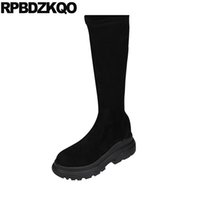 harajuku noir chaussures femmes achat en gros de-Chaussures compensées compensées pour femmes, bottes de luxe 2018, enfilées sur une plate-forme harajuku, genou haut, élastique avec un long muffin noir