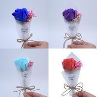 fotos blumenstrauß großhandel-Kreative künstliche Blume Foto Requisiten zarte Mini Bouquet Valentinstag Dekor Seife Blumen für Freundin 2 6xf