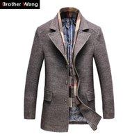 laine de tranchée de marque achat en gros de-2019 Hiver Hommes Casual Laine Trench-Coat Mode D'affaires Longue Épais Slim Manteau Veste Mâle Peacoat Marque Vêtements 1717 T219053001