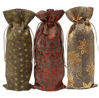 kıvırcık ipek hediye çantası toptan satış-Noel Dekorasyon Şarap Çanta toz geçirmez Şarap Şişesi Kapağı Keten İpli Champagne Torbalar Parti Hediye Paketi Düğün Masa Dekor