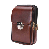 billetera de cuero para hombres al por mayor-Hombres Retro PU bolsa de cinturón de cuero de doble cremallera resistente al desgaste bolso de la cintura bolsa billetera bolsa de teléfono celular cinturón