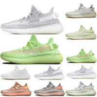 Wholesale genuine leather women shoes drop shipping for sale - Group buy Drop Shipping Kanye West Clay V2 Static Reflective Glow In The Dark Mens Running Shoes Hyperspace True Form Women Sports Designer Sneakers