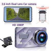 камера ночного видения для вождения автомобиля оптовых-A10 с двумя объективами автомобильный видеорегистратор 1080P камера приборной панели 3,6-дюймовый объектив HD ночного видения вождение автомобиля DVR рекордер монитор