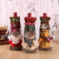 Wholesale knitted wine bottle covers resale online - Merry Christmas Decorations For Home Wine Bottle Set Cover Table Banquet Decor Knitted Fabric Santa Snowman Deer Wine Bottle Bag