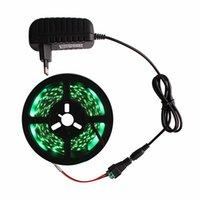 зеленые эпоксидные смолы оптовых-3528 светодиодные ленты эпоксидной смолы IP65 водонепроницаемый из светодиодов ленты огней с 2A адаптер питания 300 LED пакет зеленый свет блистер