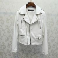 beyaz ceket kadınlar düşmek toptan satış-Motorlu Deri Ceket Beyaz Kadın Coat 2019 Coat Kadınlar PU Sahte Temel Biker Lady Dış Giyim İlkbahar Sonbahar Kabanlar Güz Giyim Üst