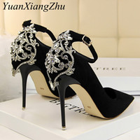 Wholesale sexy diamond lace wedding dress for sale - Group buy Women Heels Pumps Summer New Ankle Lace Diamond Dresses Womens Wedding High Heel High Quality Sexy Ladies Party Shoes