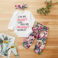 Wholesale baby 3pcs clothing set trousers resale online - 3pcs Toddler Baby Girls Letter Print Tops T shirt floral Pants headbands Outfits Sets Floral Trousers Cute Baby Must Clothes