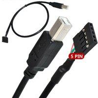 extensión de cable pin usb al por mayor-50 cm Placa madre cable de puente de 5 pines hembra a USB 2.0 tipo B macho para impresora Escáner Cable de extensión