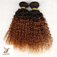 renk 27 kıvırcık toptan satış-T1B / 27 Iki Renk Malaysain Bakire Kıvırcık Saç Dokuma% 100% İnsan Saç Dokuma 10-30 Inç Çift Atkı Saç Uzantıları