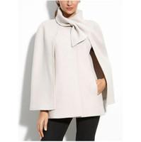 chaqueta de lana blanca para las mujeres al por mayor-Abrigo de capa blanca de mujer Mezcla de lana Bowknot Chaqueta de oficina negra Ropa de abrigo Casual Otoño Invierno Arco europeo Abrigos elegantes de capa