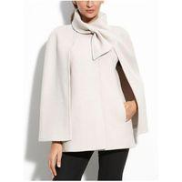 ingrosso bianche eleganti giacche invernali-Cappotto da donna bianco Cappotto in misto lana Bowknot Giacca da ufficio nera Capispalla Casual Autunno Inverno Fiocco europeo Cappotti eleganti
