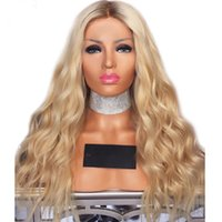 Wholesale blonde tone lace wigs for sale - Group buy Fashion Two Tones Dark Roots Ombre Blonde Synthetic Hair Lace Front Wig with Baby Hair Heat Resistant Fiber Glueless Wigs For Black Women