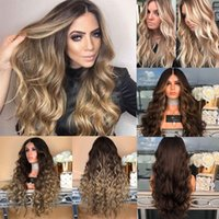 Wholesale wavy synthetic full lace wig resale online - NEW Women Fashion Synthetic Hair Lace Front Wig Body Wavy Full Wigs Ombre Blonde