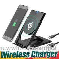cargador inalámbrico portátil para iphone al por mayor-Reino Unido UK0001 CALIENTE caliente Universal Qi Cargador inalámbrico Soporte plegable ajustable de alta calidad Soporte portátil para S8 Plus S7 Edge S6 Edge Plus
