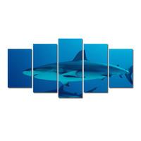 рисовать океанскую стену оптовых-5 Шт. Комбинации HD Большие Акулы Синий Океан Pattern Без Рамы Холст Картины Украшения Стены Печатные Картины Маслом плакат
