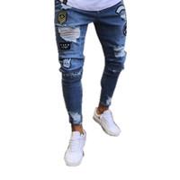 ingrosso pants dimensioni l-Uomini 'S Hole ricamato Jeans Uomo Slim' S pantaloni dal design di lusso jeans da uomo nuovo modo dei jeans il formato S-3XL