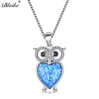 ожерелье из опалового золота оптовых-Blaike Cute Owl Pendant Blue White Fire Opal Necklaces For Women 925 Sterling Silver CZ Crystal Rainbow Heart Necklace Jewelry