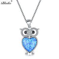 9104b17e6e53 Blaike Lindo Búho Colgante Azul Blanco Collares de Ópalo de Fuego Para Las  Mujeres 925 Plata Esterlina CZ Crystal Rainbow Heart Necklace Jewelry