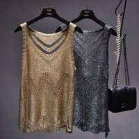 Wholesale style girls tank sexy for sale - Group buy Women Gold Lurex Knit Tank Top Sexy Hollow Out Camisole O neck Holes Bling Backless Basic Tops Slim Girls Summer Camis Y19042801