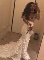 Wholesale red dress ruffle v neck online - Gorgeous White Mermaid Prom Dresses V Neck Beading Long Sleeve Floor Length Handmade Flowers Backless Evening Party Gowns BA8001
