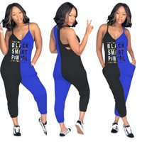Wholesale club rompers jumpsuits resale online - Women Sleevless slim letter Jumpsuit v neck pocket balck smart Pants Club Sexy patchwork Playsuit Party Ladies Rompers Outfit LJJA2290
