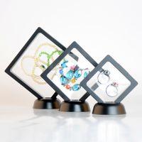 exibição de moldura de jóias venda por atacado-Phenovo Transparente 3D Exibição Quadro Flutuante Titular Caixa com Suportes para Colar Brincos Pulseiras Jóias Embalagem Show Rack