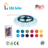 Wholesale 12v waterproof color changing remote resale online - RGB Color Changing Flexible LED Strip Light HD M SMD5050 Waterproof LED Strip Light with Key IR Remote Control Warm White