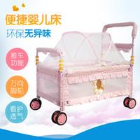 cunas de metal para bebés al por mayor-Cama de bebé Europea multifunción portátil cama de hierro bebé protección del medio ambiente cuna carro rolle nido cuna