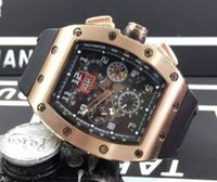 Wholesale rubber bands for sale - Group buy Luxury Top Brand Rose Gold Stainless Tonneau Fashion Date Mens Mechanical Skeleton Watch Rubber Band Date Men Automatic Movement Wristwatch