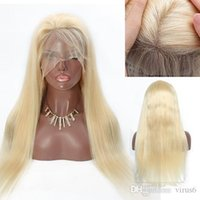 Wholesale human hair wigs for white women for sale - Group buy 613 Blonde Lace Front Wig Pre Plucked Hairline With Baby Hair Straight Peruvian Human Hair Full Lace Wigs For White Women