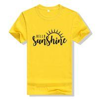 gelbe grafische t-shirts großhandel-Sun Shirt Hallo Sonnenschein Shirt Damen Gelb T-Shirt Baumwolle Graphic Tees Plus Size T-Shirt Sommer Shirts Damen Natur Tops