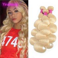 hermosos tejidos al por mayor-Los paquetes brasileños del pelo humano de la Virgen 613 # Blonde El pelo liso remy recto teje derecho 8-30inch Blonde magnífico 3 pedazos / porción
