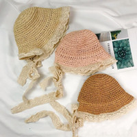 Wholesale girls straw sun hat floppy resale online - Girls Lace Straw Hat Kids Cute Summer Beach Sun Hat Casual Lace Wide Brim Floppy Hat Little Princess Sun Protection Cap TTA1037